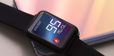 A black diabetes watch.