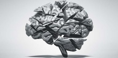 A black and white sculpture of a human brain.